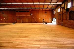 school gym wood sanding