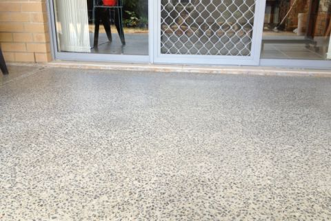 Patio polished concrete floor