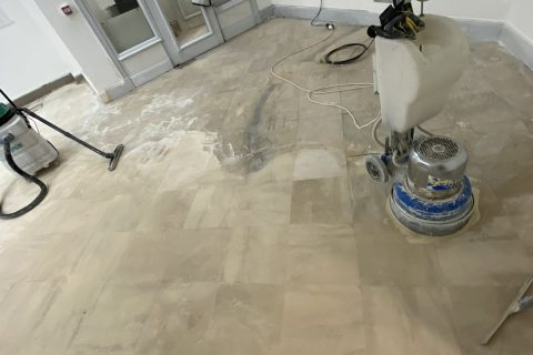 Grinded and polished limestone floor