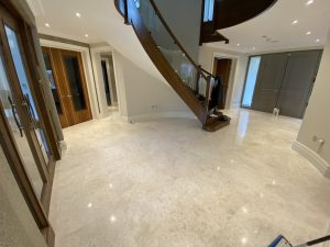polished marble floor and staircase
