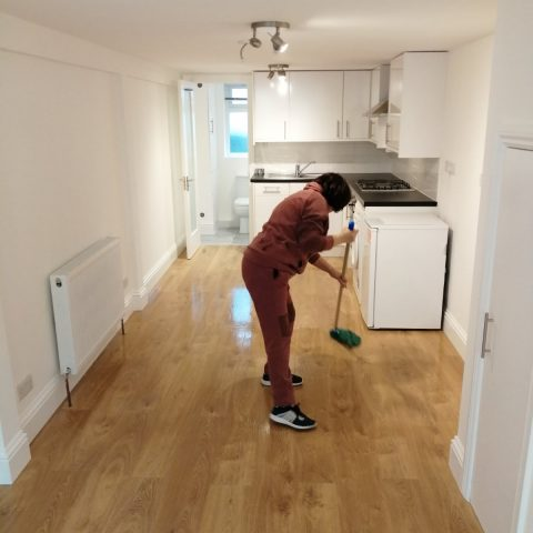 process of cleaning a laminate floor