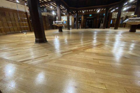 Complete process of wood floor restoration