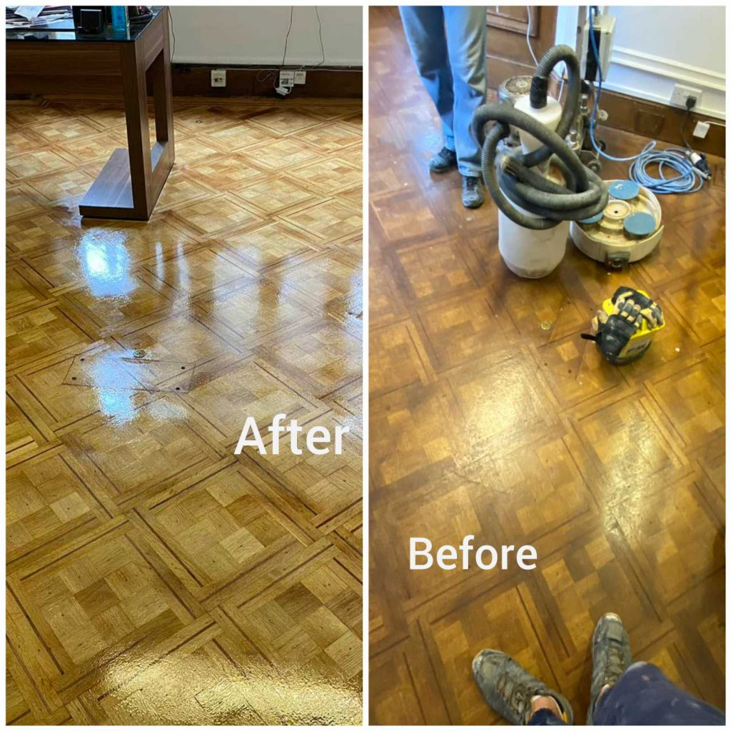 floor polishing - before and after